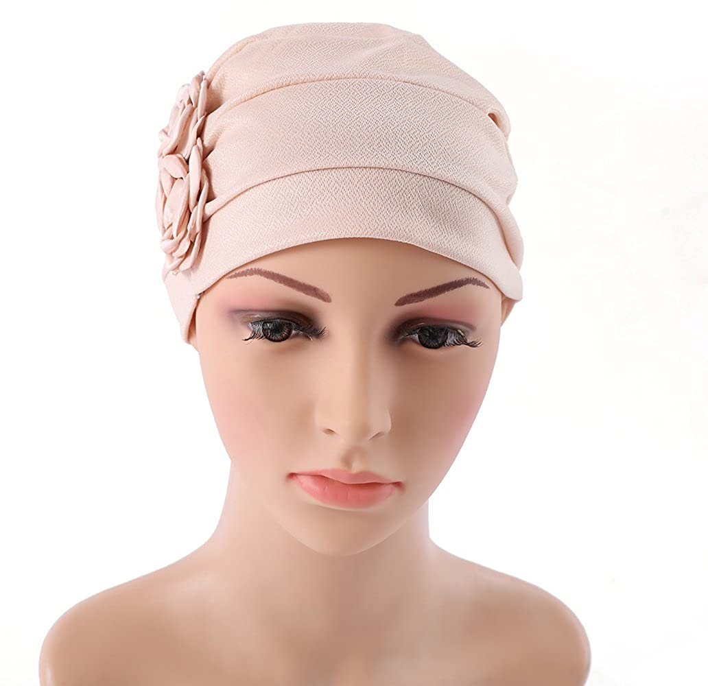 431c43cfd HONENNA Ruffle Chemo Turban Headband Scarf Beanie Cap Hat for Cancer Patient