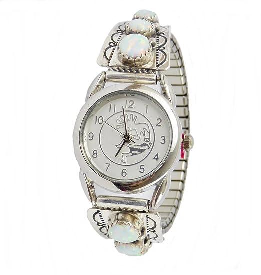 5f6b9d45269b Mujer - Reloj de pulsera indios joyas de Navajo indios plata de ley Opal  mano  Amazon.es  Relojes