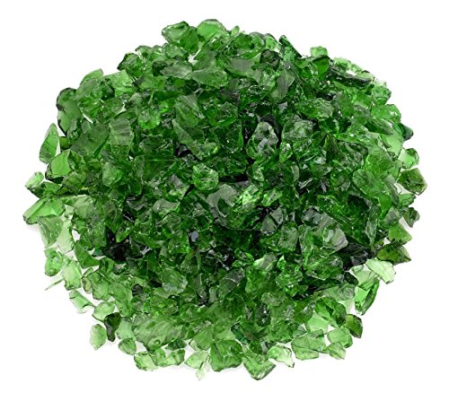 American Fireglass Light Green Recycled Fire Pit Glass - Small (12-18Mm), 5 lb. Bag (With Pit Stone Crushed Fire Patio)