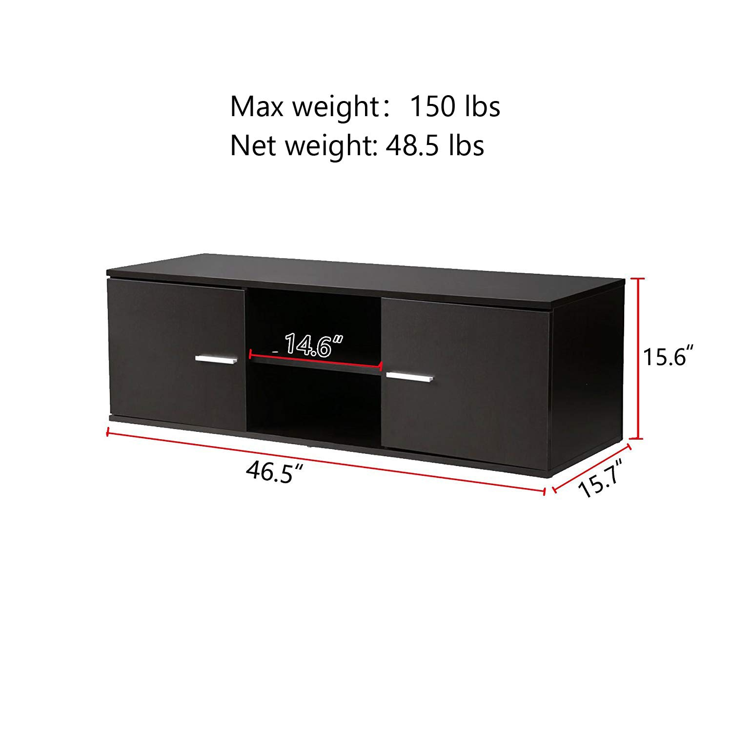 Wood TV Stand Storage Console, TV Component Bench, Econ Entertainment Center with Storage Bins, Black by Best and Affordable (Image #2)