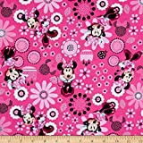 Springs Creative Products Disney Minnie Bowtique Cotton Minnie Allover Fabric, Pink, Fabric By The Yard