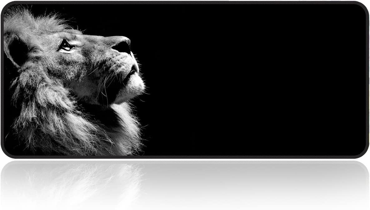 "Large Gaming Mouse Pad Lonely-Lion with Edge Stitching|Extended XXL Size, Heavy|Thick, Waterproof & Foldable Mat for Desktop,Laptop,Keyboard, 31.5""x11.8""x0.15""Desk Pad with High Resolution by Qisan"