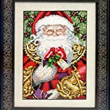 Mirabilia Designs Santa Claus LINEN Kit Beaded Counted Cross Stitch by Nora Corbett MD120 (Bundle: Chart, Fabric, Beads)