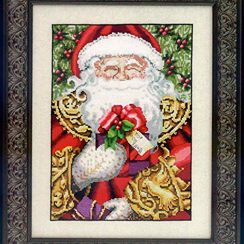 Nora Santa (Santa Claus LINEN Kit Beaded Counted Cross Stitch by Nora Corbett Mirabilia Designs MD120 (Bundle: Chart, Fabric, Beads))