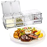 Clear Seasoning Box Condiment Storage Containers 4 PCS Acrylic Spice Jars Dispenser for Salt Sugar Cruet with Cover and Spoon by LongRon