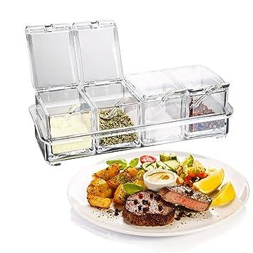 Condimento Caja (4 piezas acrílico juego de botes para especias (compartimentos condimento dispensador para Cocina Sal Azúcar Servicio de mesa con tapa y ...