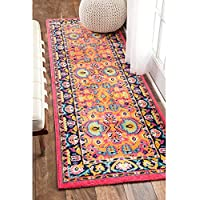 nuLOOM Vibrant Floral Persian Pink Runner Rug (25 x 8)