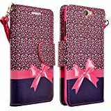 HTC ONE A9 Case, Magnetic Leather Flip Wallet Pouch For HTC ONE A9, Slim Folio Case with Kickstand, 2 Credit Card Slot Wallet Pouch (Hot Pink Cheetah)