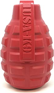 SodaPup USA-K9 Dog Toy - Natural Rubber Grenade Shaped Dog Chew Toy - Treat Dispenser - Slow Feeder - for Heavy Chewers - Made in USA - Red - Medium