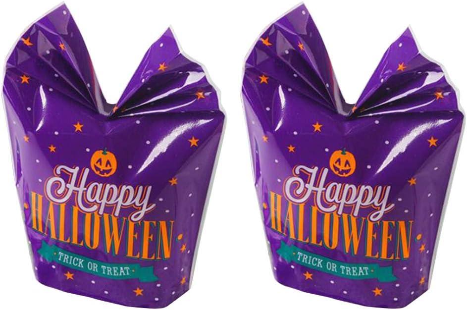 100pcs Halloween Bolsa de Embalaje de Dibujos Animados púrpura Bolsa de plástico Plana para Pasteles de Galletas de Caramelo sin Cinta