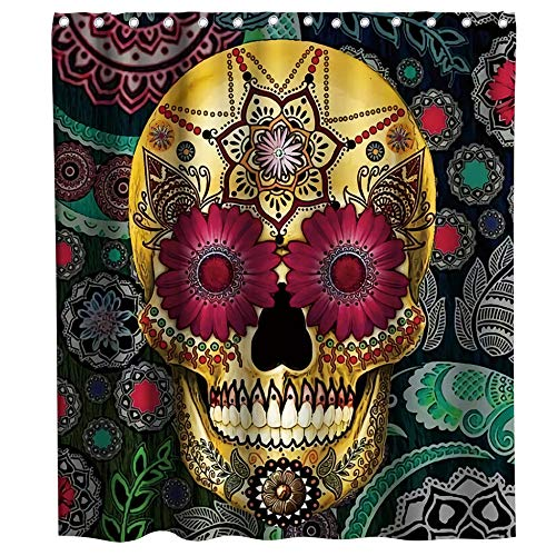 Final Friday Funny Gold Sugar Skull Floral Theme Fabric Shower Curtain Sets Black Halloween Bathroom Decor with Hooks Waterproof Washable 70 x 70 inches Teal Purple and Grey (Day Of The Dead Artwork For Sale)