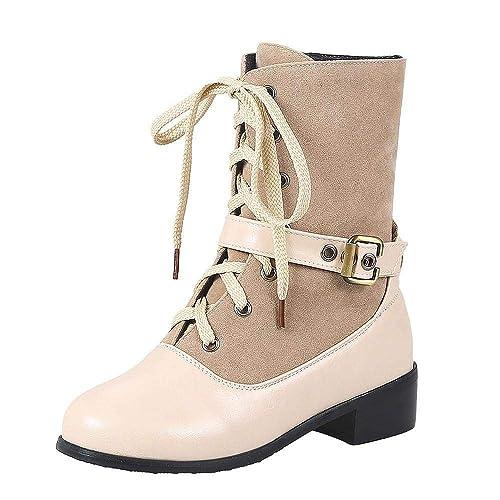Logobeing Botines Mujer Tacon Planos Botas de Mujer Casual Plataforma Zapatos Antideslizante Hebilla de Ocio Grueso Color Sólido Tubo Corto Martin Boots: ...