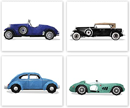 Amazon Com Car Wall Art Set Of 4 Posters Retro Sport Car Prints Game Room Wall Decor Pictures Race Car Art Boy Bedroom Decor Playroom Automobile Illustration