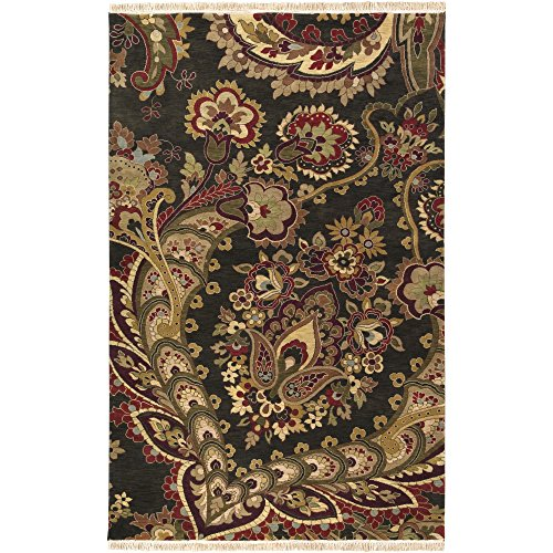 Surya Taj Mahal TJ-6584 Traditional Hand Knotted 100% Semi-Worsted New Zealand Wool Black 2' x 3' Accent Rug 17th Century Persian Rug