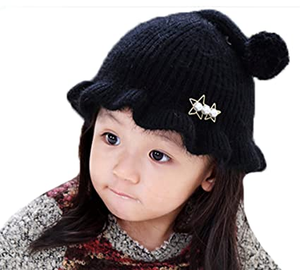 ZEHAT Lovely Lotus Leaf Brim Princess Hat Girl Knit Hat With Wool Ball Tail Fashion Children Hat Winter Warm Hats Best Gift
