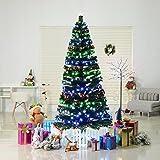 7 artificial pre lit 280 led stars and fiber optic light up christmas tree green - Metal Christmas Trees