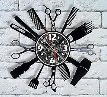 Amazon Com Comb Man Barber Shop Decor Vinyl Clock Salon
