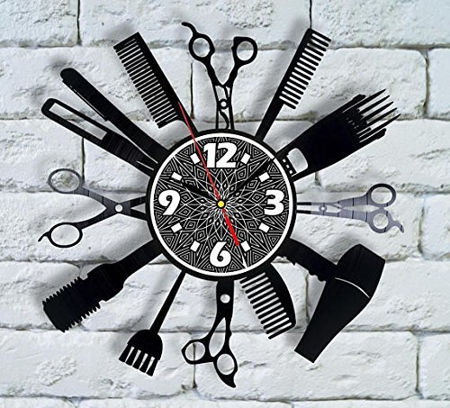 Comb Man Barber Shop Decor Vinyl Clock Salon Logo Hair Comb for Men Beautician Gift Hair Stylist Decorations Barber for Men Design Extension