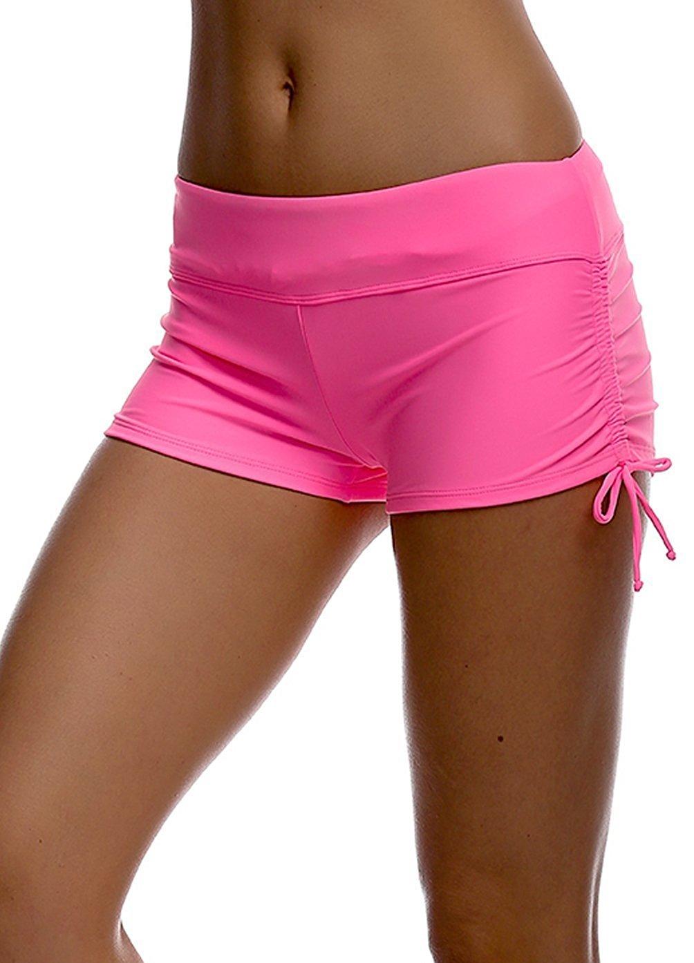 Women Girls Adjustable Drawstring Swim Shorts Bikini Boy Style Short Brief Bottoms Imixshopcs