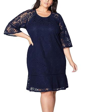 58717fd87c9 SEBOWEL Women s Plus Size 3 4 Sleeves Floral Lace Party Swing Casual Midi  Dress Navy