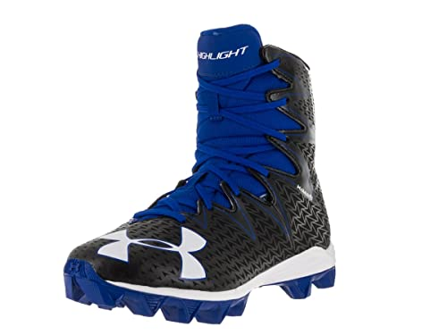 ab6eba846 Under Armour Boy s Highlight RM Junior Football Cleat Black Team Royal Size  4.5 ...
