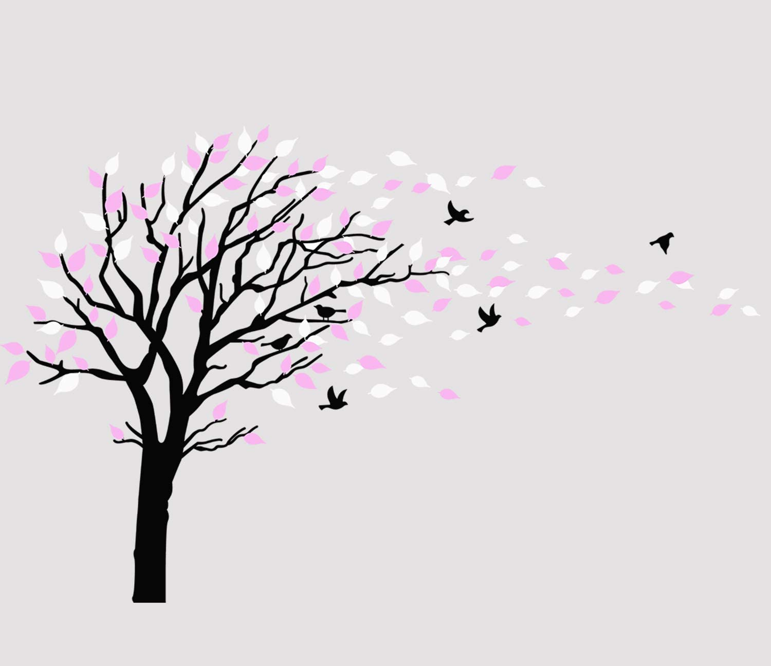 Large Tree Blowing in The Wind Tree Wall Decals Wall Sticker Vinyl Art Kids Rooms Teen Girls Boys Wallpaper Murals Sticker Wall Stickers Nursery Decor Nursery Decals (Black White Pink)