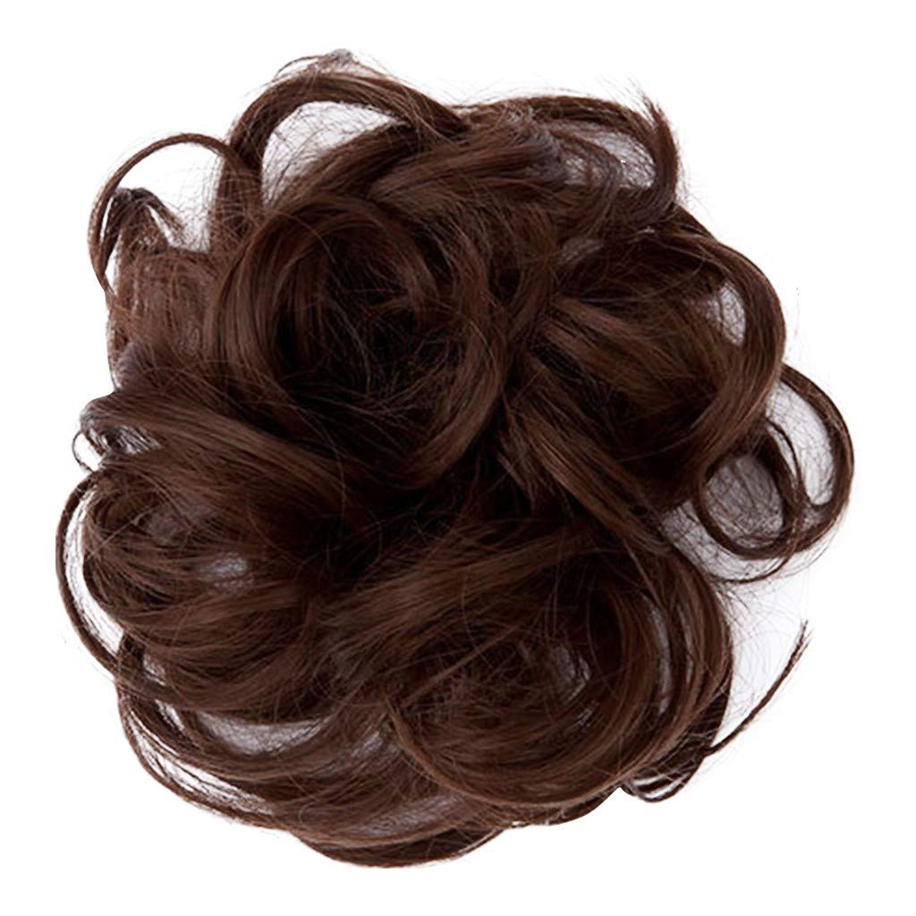 Factorys Hair Bun Hairpiece,Wavy Straight Messy Donut Elastic Chignons Synthetic Wig for Women Girls