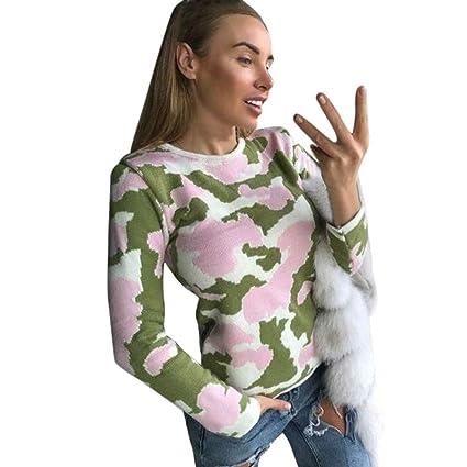 Mujer y Niña otoño fashion fiesta,Sonnena ❤ Camisas de moda impresas Camuflaje de