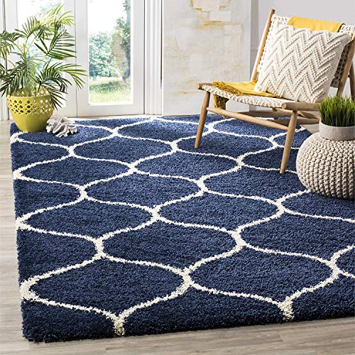 Safavieh Hudson Shag Collection SGH280C Navy and Ivory Moroccan...