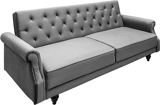 Riess Ambiente De Elegantes Schlafsofa Maison Belle Affaire 220cm Grau Samt Bettfunktion 2 Sitzer Sofa Couch Amazon De Kuche Haushalt