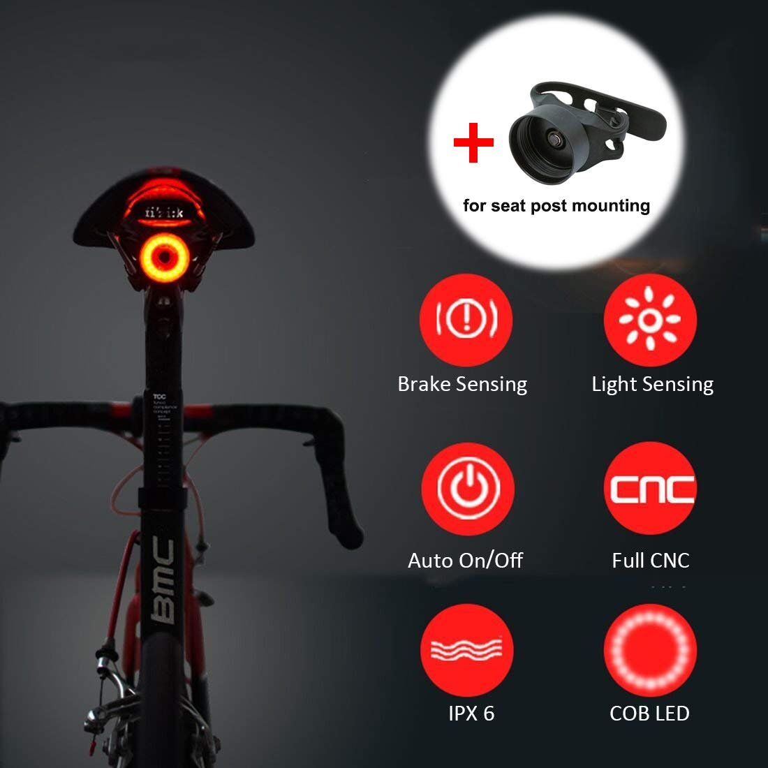 Bresuve USB Rechargeable Bicycle Tail Light, Super Bright Led Bike Bicycle Rear Light Automatic on Off, Brake Induction, IPX6 Waterproof, Red high-Intensity LED Bicycle Light