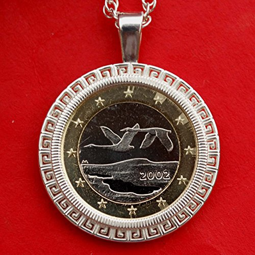 2002 Finland One Euro BU Unc Coin Solid 925 Sterling Silver Necklace NEW - Flying Swans