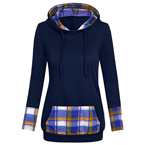 ZJSWCP Sweatshirt New Women Hooded Plaid with Diagonal Turkish V-Neck Shirt and Top Blouse