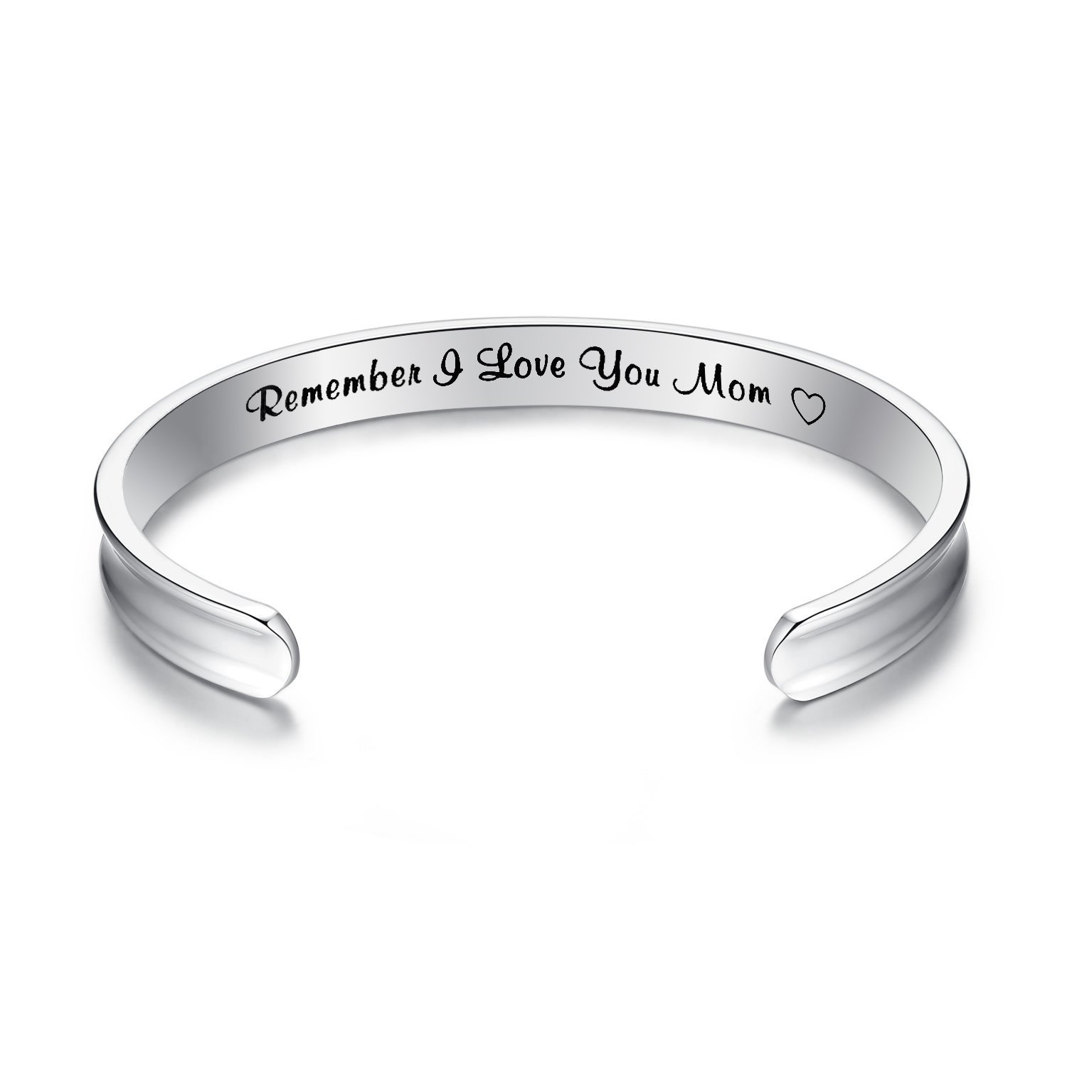 Yoomarket Remember I Love You Mom Cuff Bangle Bracelets Rose gold Silver Bracelet For from Mom and Daughter Birthdays (Silver-Grooved)