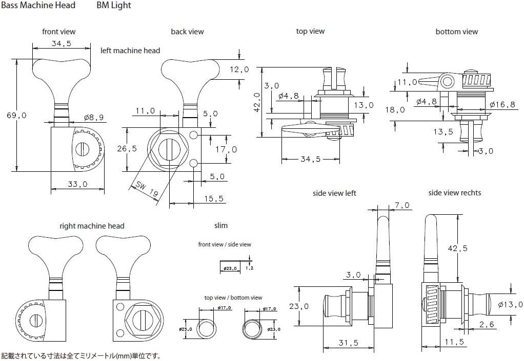 Schaller BMRUL Light 5345 Bass Machine Head BM Light 4 left Ruthenium