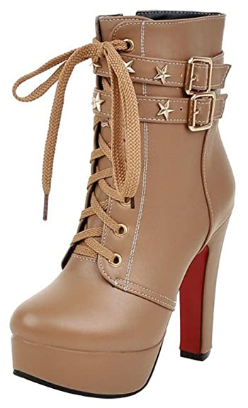 Women's Trendy Studded Stars Buckled Belt Lace up Almond Toe Chunky High Heel Platform Short Boots