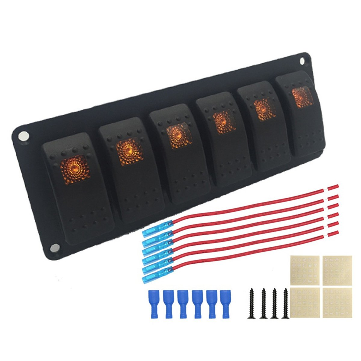 6-Group Single Lamp Aluminum Switch Panel for Car/RV/Yacht Refitting - Black, Orange