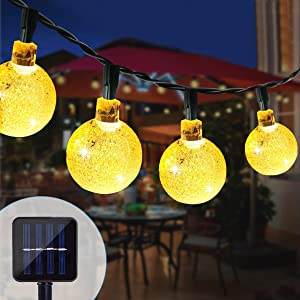 Lamantt Solar String Lights Outdoor,100 LED 39ft Solar String Lights &8 Modes Waterproof Outdoor Lights Globe Crystal Ball Decorative Lighting, Fairy Lights for Garden, Wedding, Yard, Christmas