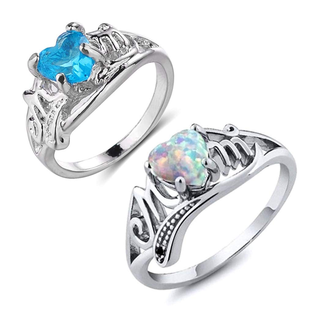 DARLING HER Vintage Heart Opal Birthstone Ring Selfless Mom Rings for Women Clear CZ Silver Fashion Jewelry Gift