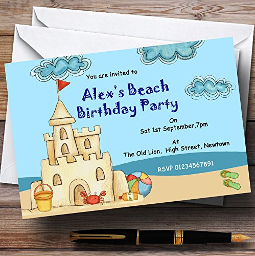 Beach Sandcastle Pool Theme Personalized Birthday Party Invitations