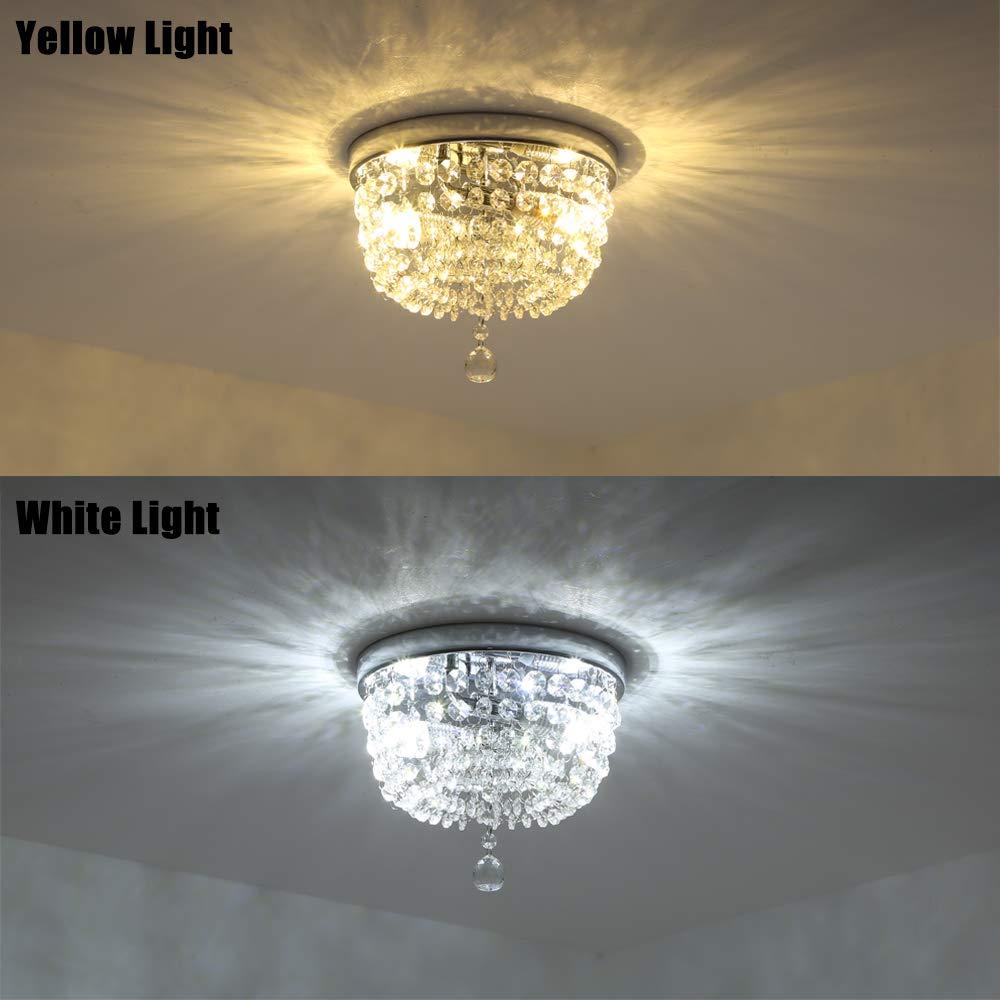 SOTTAE 2 Lights Ceiling Light Pendant Fixture Lighting Chrome Finish Modern Crystal Chandelier, Crystal Ceiling Light 9.8