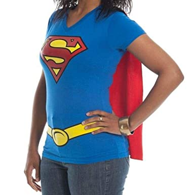 c38cd3eba8e Amazon.com  Supergirl DC Comics Cape Juniors T-Shirt  Clothing