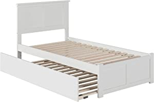 Atlantic Furniture Madison Bed with Footboard and Twin Extra Long Trundle, White