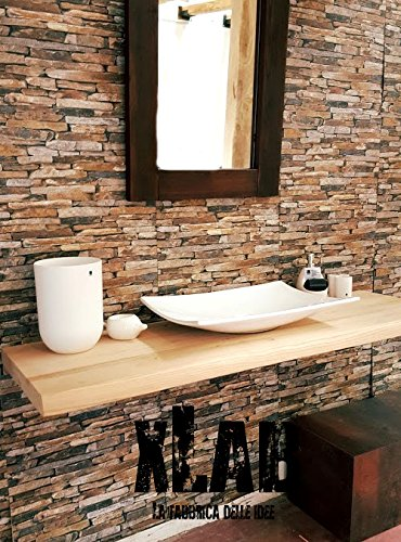 Mensola da bagno in legno massello di castagno per lavabo 140x50x5 ...