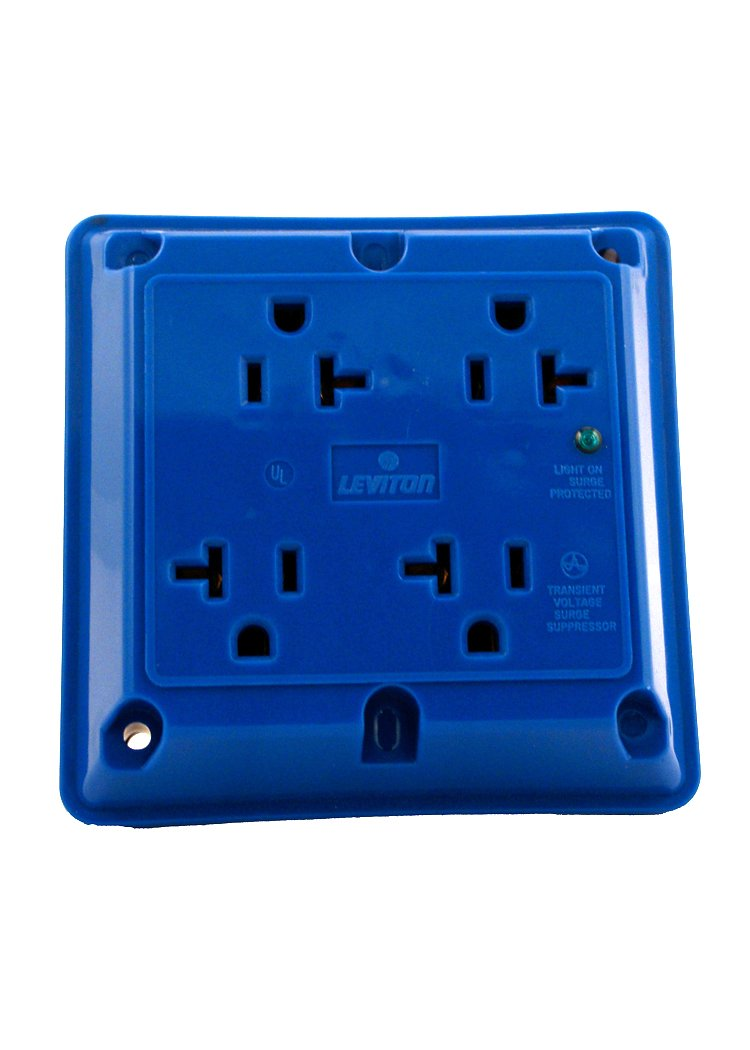 Leviton 5490-BU 20 Amp, 125 Volt, 4-In-1 Receptacle, Straight Blade, Industrial Series Extra Heavy Duty Specification Grade, Grounding, Surge with Indicator Light, Blue