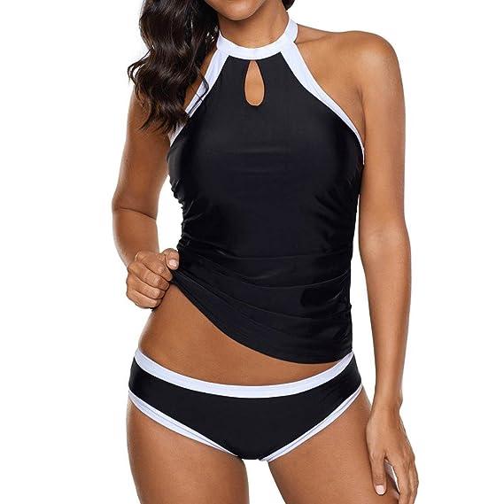SEWORLD Bikini-Sets, 2018 Damen Regenbogen Dame Tankini Schwimmkleid Badeanzug Beachwear Gepolsterte Bademode Übergröße Bikin