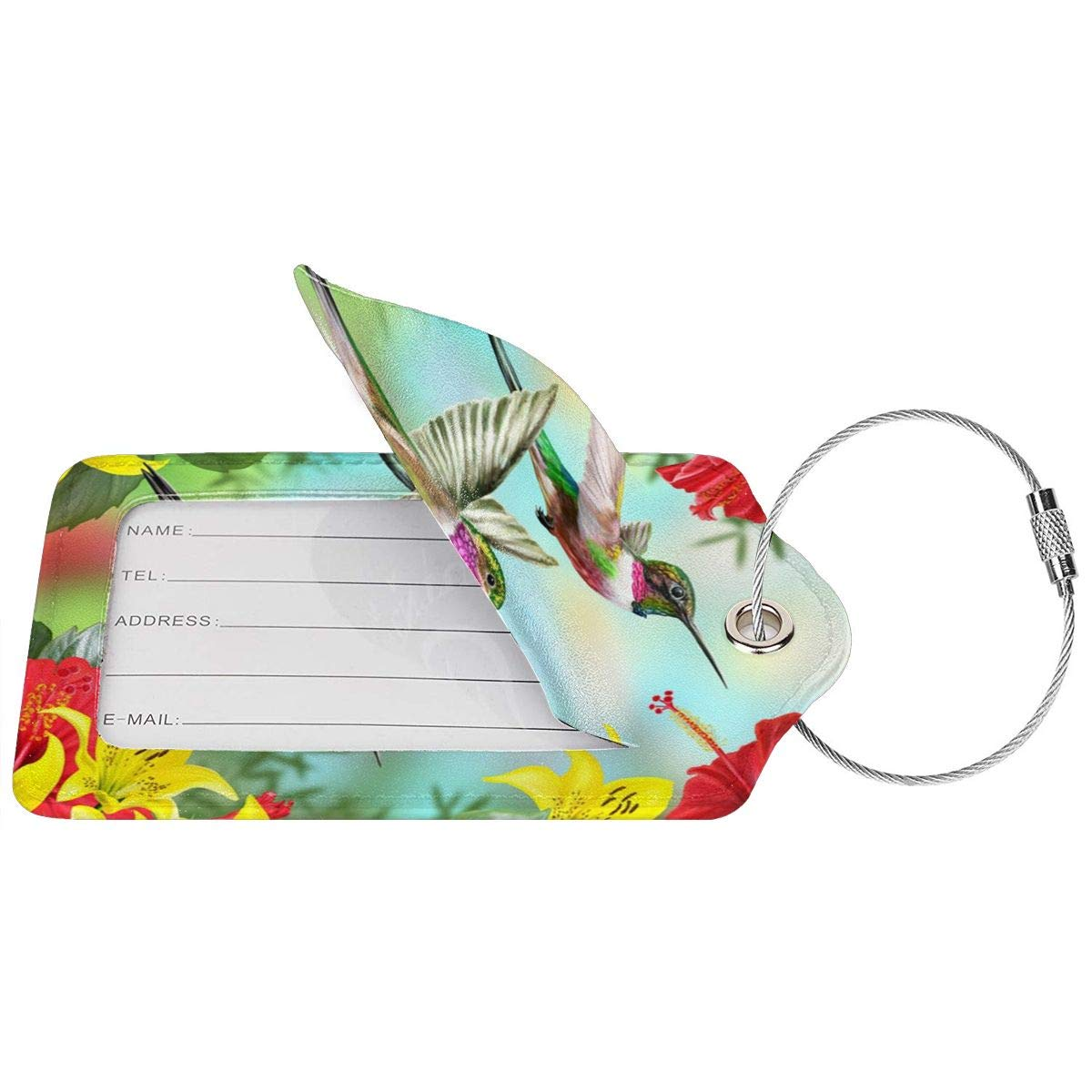 Hummingbirds Red Flower Hibiscus Yellow Lilies Leather Luggage Tags Personalized Travel Accessories With Privacy Flap