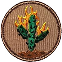 "Burning Cactus Patrol Patch - 2"" Diameter Round Embroidered Patch (Sew-on)"