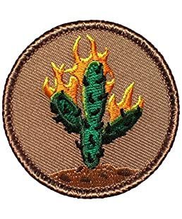 """Burning Cactus Patrol Patch - 2"""" Diameter Round Embroidered Patch (Sew-on)"""