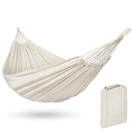 White Portable Cotton Double Hammock Bed w/Carrying Bag Capacity 375 lbs
